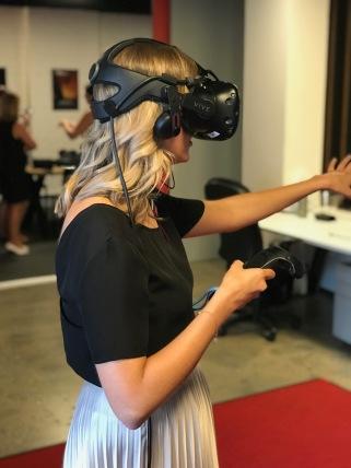 Miss Gaspari experiencing immersive VR content